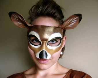 Doe Leather Mask -  Adult or Child Sizes - Deer - His and Hers - Animal Mask - Masquerade Mask - Halloween Costume - Animal Costume - Women