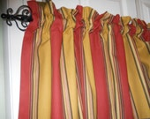 Rusty Red and Gold stripe valances