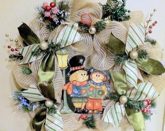 Christmas Carolers Deco Mesh Wreath