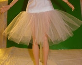 Fashion Doll Coordiates - White cotton drop waist Tulle net under skirt - SSW