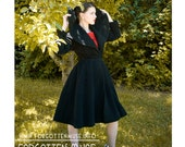 HOLD -  50s - black wool princess coat with huge opera shawl collar and full skirt - size XS S