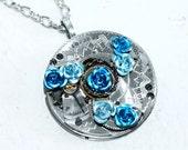 Steampunk Necklace - Blue Aquamarine Rose ELGIN GUILLOCHE ETCH Antique Pocket Watch Movement Steampunk Necklace Wedding Valentines Day Gift