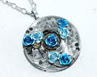 Steampunk Necklace - Blue Aquamarine Rose ELGIN GUILLOCHE ETCH Antique Pocket Watch Movement Steampunk Necklace Wedding Gift