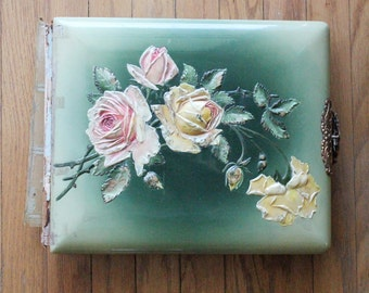 Antique late 1800's/early1900's Floral Rose Celluloid Full Photo Album
