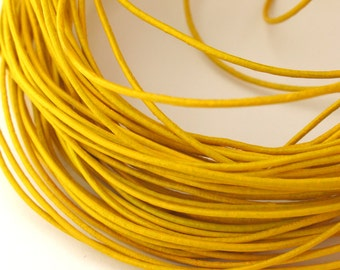 LRD0105022) 0.5mm Yellow Genuine Round Leather Cord.  1 meter, 3.4 meters, 4.6 meters.  Length Available.
