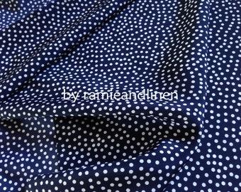 "Silk fabric, elegant polka dots print on dark navy blue crepe de chine silk fabric, pure silk fabric, dress fabric, half yard by 44"""