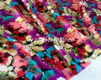 "silk fabric, floral print silk cotton blend Silk cotton satin fabric, one yard by 44"" wide"