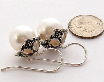 Pearl Drop Earrings, Sterling Silver 12 mm Large Pearl Earrings, Marcasite, White Pearl Ear Drops, Pearl Wedding Jewelry, Bridesmaids Gifts