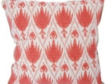 geranium red on oatmeal egyptian papryrus ikat , pick your size and color cushion, pillow cover