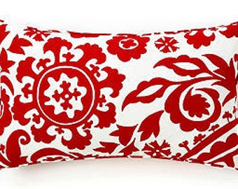 """Pillow Cover Cushion  red  ikat, suzani  14x24"""" or seelect your size"""