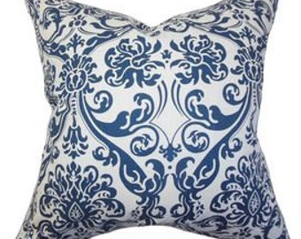 Pillow Cover Cushion 20x20 navy damask pattern  , other sizes and colors available,