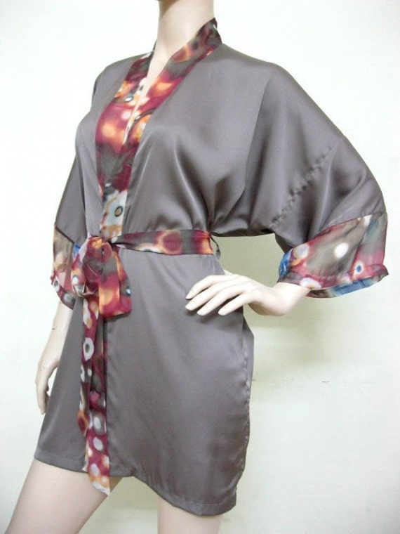 BIG SALE from USD 45 - Silk Satin Kimono Robe in Taupe Floral Short Kimono Gift for Her Bridesmaid Robes Wedding Robes Loungwear