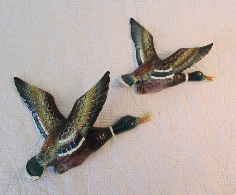 Flying Mallard Ducks Wall Plaques Ceramic