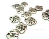 Made With Love Charms, 12pc,  Silver Heart Charm, 10x13mm