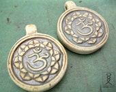 2pc Ceramic Ohm Pendants, Yoga Beads, High Fired Clay Beads, 30mm