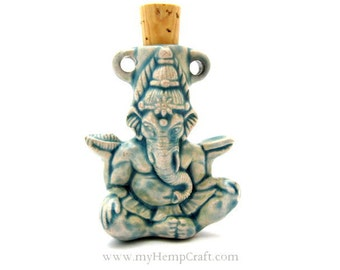 Ganesha Pendant, Raku Ceramic Bottle, High Fired Clay Vessel, 1pc