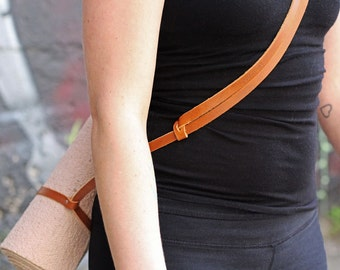 Yoga Mat Strap - Tan Leather
