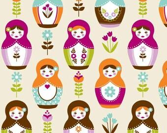 Riley Blake Fabric, Little Matryoshka Main Cream, 1 yard