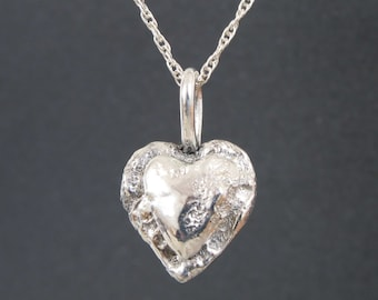 Silver Heart Necklace, Mother and Child Necklace, Fabricated Silver Necklace, Metalwork, Valentines Day Heart, Recycled Silver, Double Heart
