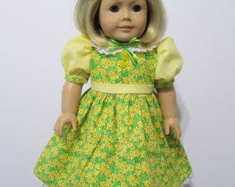 American Girl or 18 Inch Doll Clothes / 2 pc. Daffodil Field and Yellow Checked Party Dress and Hair Bow