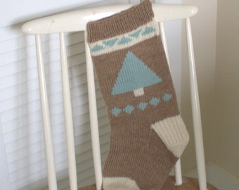 Hand knit Christmas stocking, wool Christmas stocking, Holiday decor