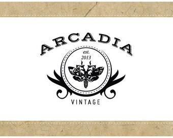 Custom PreMade Logo Design - PreDesigned Logo - Custom Vector Logo Design - OOAK Logo -  ARCADIA Logo Design - Vintage Logo - Antique Logo