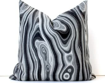 Black and Grey Malachite Decorative Designer Pillow Cover Accent Cushion coal granite neutral natural curiosities stone jewel gemstone