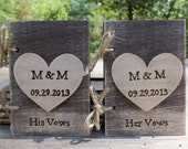 Rustic Wedding Guest - Journal - VOW Books - Write your own Vows - Wedding Keepsake (Set of Two)