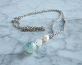 Archangel Gabriel - Aquamarine, Rainbow Moonstone, Fresh Water Pearl Pendant with Silver Chain