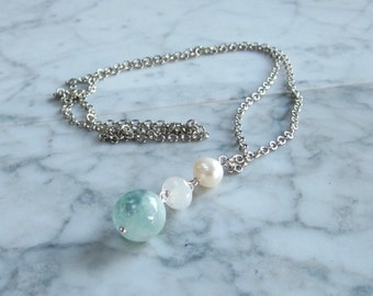Archangel Gabriel - Aquamarine, Rainbow Moonstone, Fresh Water Pearl Pendant with Silver Chain