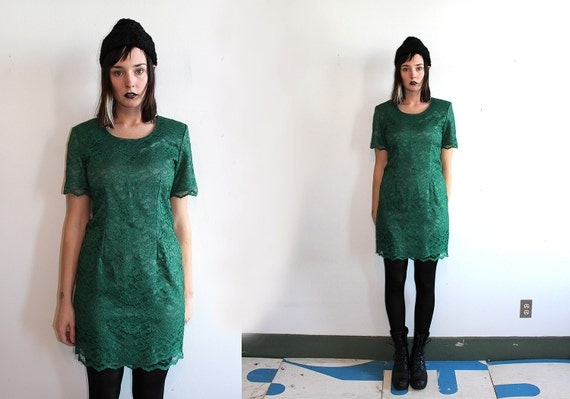vintage 80's my Michelle LACE emerald green party dress short sleeved wiggle dress with tags women's