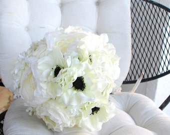 Anemone and Peony Ivory Bouquet, Small Bouquet
