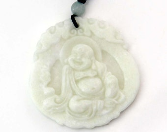Natural Stone Bead Carved Tibet Buddhist Fortune Buddha Amulet Talisman Pendant 44mm x 43mm  TH286