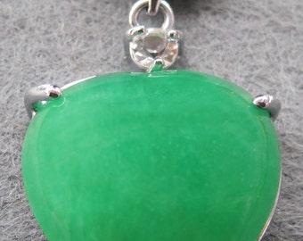 Green Stone Inlaid Alloy Metal Love Heart Frame Amulet Talisman Bead Pendant 22mm x 22mm  T2097