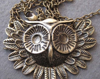 Alloy Metal Owl Pendant Necklace Chain 600mm x 58mm  T2492