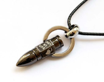 Titanium Steel Metal Bullet Shape Pendant Leather Cord Necklace With ONLY MY LOVE 40mm x 17mm  T2752
