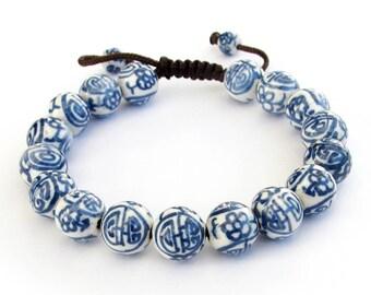 10mm Vintage Style Round Chinese Porcelain Ceramic Beads Adjustable Bracelet   T0248