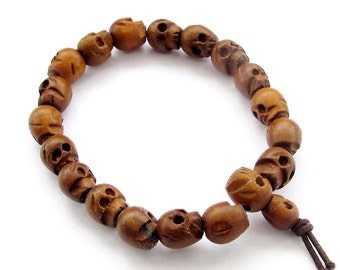 10mm Tibetan Jewelry Jujube Wood Carved Skull Beads Buddhist Wrist Stretchy Bracelet  T2520