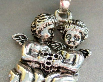 Two Winged Litter Angels Alloy Metal Pendant Necklace 38mm x 28mm  T1310