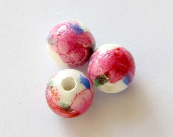 15Pieces Vintage Style Porcelain Ceramic Flower Loose Beads DIY Accessories Finding--10mm  ja440