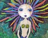 Rainbow Mermaid, ACEO, Mini Art Print, Collectible Art, Soulful Art, Mermaid Art, Gift Card, Trading Card, Mixed Media Art Print, Art Card