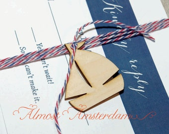 Wooden Sailboat Charms for Nautical Invitations and Paper Crafts - Please select quantity