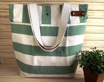 Striped Beach Tote Bag Large Beach Bag Nautical Stripes Bag Shoulder Bag Eco friendly Canvas Shoulder Handbag 4 Pockets
