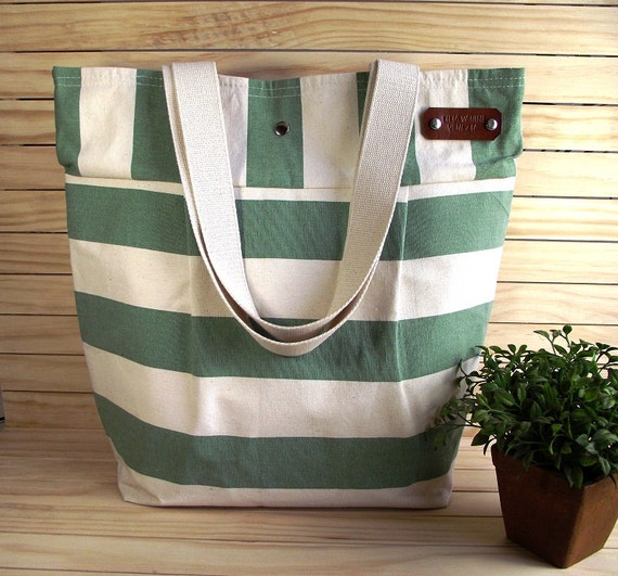 Waterproof Canvas Tote Bag Large Beach Bag Nautical Stripes Bag Shoulder Bag Eco friendly Canvas Shoulder Handbag 5 Pockets
