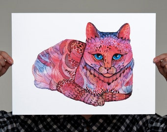 Kitty Sunset Cat // SALE 1+1 // Buy one get one FREE, water color painting print, neon animal art, Size A3