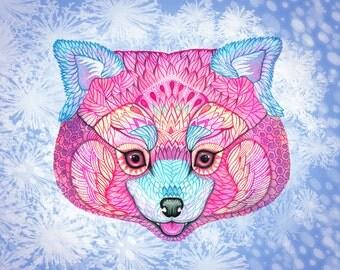 Winter Red Panda, animal art print, pet illustration, size 10x8