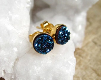 Tiny Blue Druzy Studs Titanium Drusy Quartz Gold Vermeil Bezel Set Earrings