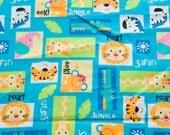 Baby Jungle Animal Blocks - Flannel - Teal -  1 yard