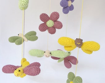 Butterfly Baby Mobile, Flower Baby Mobile, Nature Mobile, Nursery Decor, Nursery Mobile