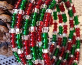 Merry Christmas Memory Wrap Bangle Bracelet with Red Green and White